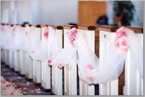 church and ceremony pew decorations. Black Bedroom Furniture Sets. Home Design Ideas