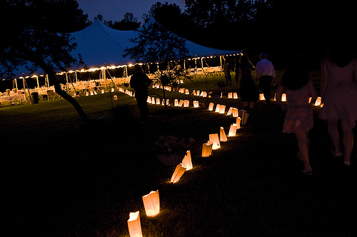 Decorating an outdoor wedding reception -