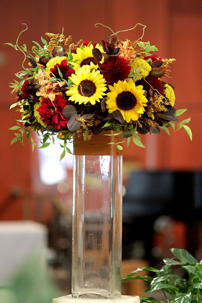 Fancier tall flower arrangements