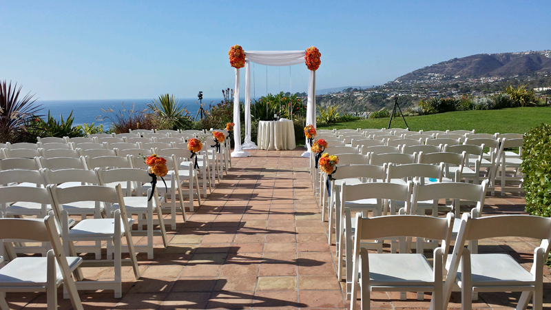 Here's an overall view of the ceremony, which was on a cobbled stone area, and featured a very simple canopy.