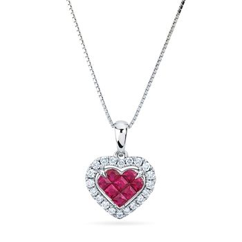 Ruby and Diamond heart necklace 14kt white gold